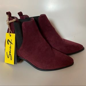 NWT SEVEN7 WINE TONED POINTED TOE ANKLE BOOTIES